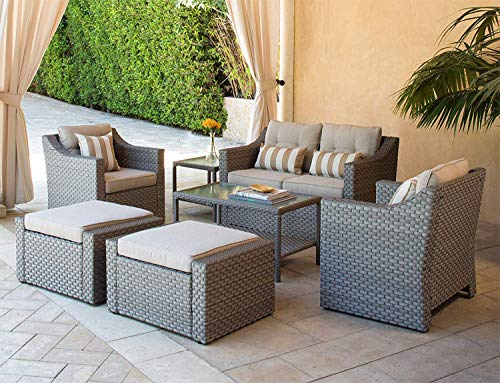 SOLAURA Outdoor Furniture Set 7-Piece Wicker Conversation Furniture Lounge Chairs with Ottoman & Loveseat with Sophisticated Glass Coffee Table-Gray