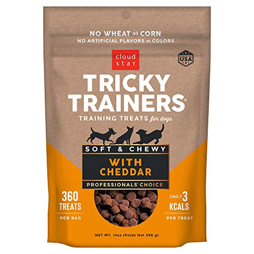 Cloud Star Tricky Trainers Chewy Low Calorie Dog Training Treats, Made in the USA Wheat & Corn Free, Soft Puppy Bites 14 oz Cheddar