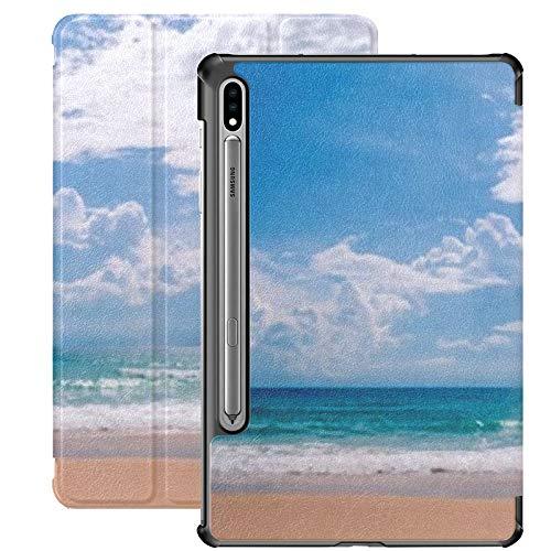 Funda Galaxy Tablet S7 Plus de 12,4 Pulgadas 2020 con Soporte para bolígrafo S, Soft Wave Blue Ocean On Sandy Funda Protectora Tipo Folio con Soporte Delgado para Samsung
