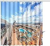 Cortina de ducha MSC Cruise Liner July Lujoso crucero msk Musica Cubierta superior con solárium Impresión gráfica Tela de poliéster Juegos de decoración de baño con ganchos 72 X 72 pulgadas