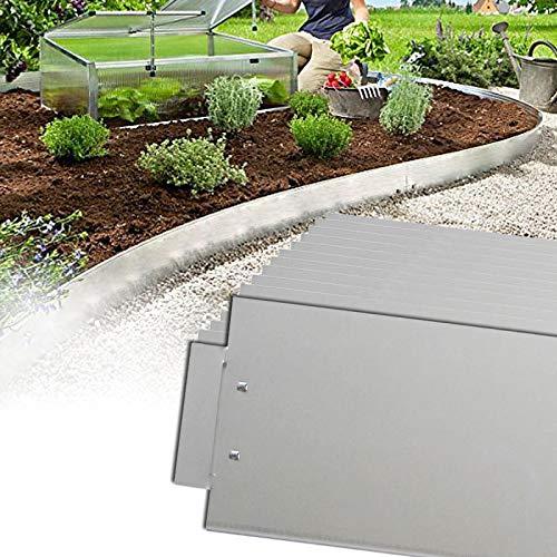 LZQ Rasenkante 5m 10m 15m 20m 30m 40m 50m x14cm verzinkt Beeteinfassung Beetumrandung Mähkante Metall Palisade Länge: 5 m - Höhe: 14 cm