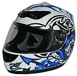 Protectwear H510-11-WB-L Casco Integrale da Moto, Multicolore (Bianco/Blu (Drago)), L (59-60 cm)
