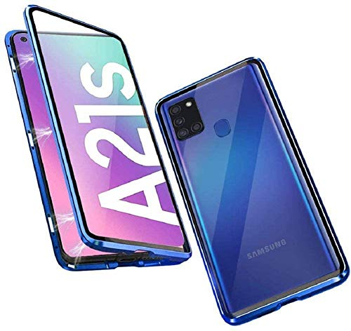 Para Samsung Galaxy A21s, carcasa delantera y trasera de cristal 9H, fuerte carcasa magnética con caja de adsorción magnética, marco de metal de 360 grados, funda protectora completa para A21s