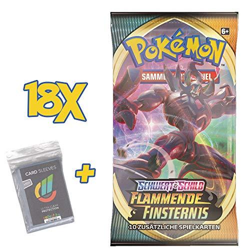 CAGO Pokemon - Flammende Finsternis - 18 Booster - Deutsch - Kein geschlossenes Display! + 100 Collect-it Hüllen