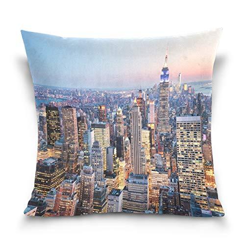 HMZXZ Funda de almohada decorativa de 45,7 x 45,7 cm de la ciudad de Nueva York para sofá, dormitorio, sala de estar