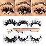 3 Styles False Eyelashes Faux Mink Material 3D Lashes 100% Handmade Natural Fluffy Long Soft Reusable Fake Eyelashes with Eyelash Applicator(TC3)