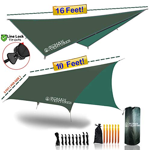 Roman Ventures Hammock RAIN Fly Tent TARP Waterproof Camping Shelter. Lightweight Ripstop Nylon & Not Polyester. Stakes Included. (Dark Green)