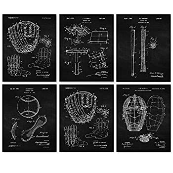 Vintage Baseball Patent Poster Prints Set of 6  8x10  Unframed Photos Wall Art Decor Gifts Under 20 for Home Office Garage Man Cave College Student Teacher Coach Champion Sports Fan
