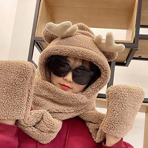 Wrap for Women Neatly Stitched Sombreros de Navidad Sombrero de asta de Oso Lindo Bufanda GuanteMantener Caliente Sombrero Sombreros