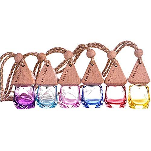 POFET 6 unidades de 6 ml de perfume vacío difusor de fragancia botella de cristal para el hogar o el coche ambientador colgante multicolor