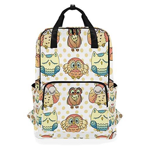 Rucksack für Studenten, mit Fell-Muster und Eulen-Muster, für Grundschule bis zu 35,6 cm (14 Zoll) Laptoptasche, Schultasche, Geschenk für Kinder, Mädchen, Jungen, Teenager