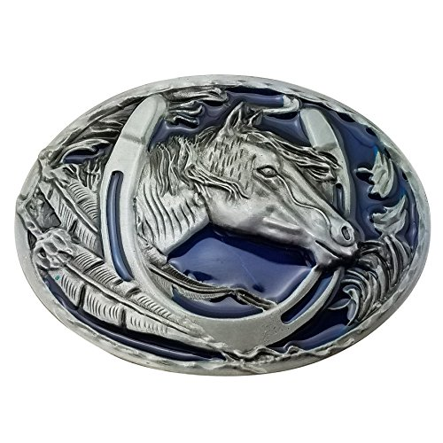 Lanxy Western Cowboy Leaf Horse Head Horseshoe Belt Buckle For Men Blue Enamel Grey Tone, free