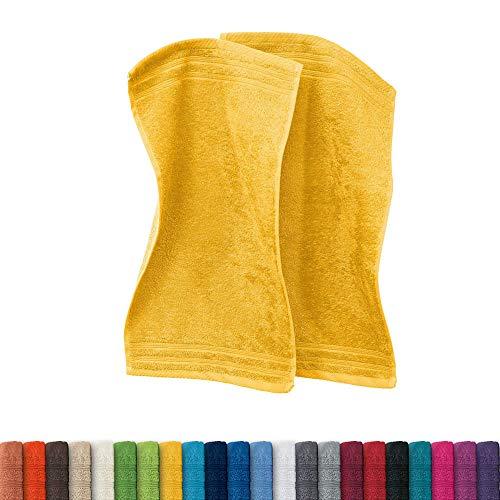Erwin Müller Gästetuch Heidelberg 2er- Pack 100% Baumwolle gelb Größe 30x50 cm - leichte Qualität, saugstark, schnelltrocknend, kompakt - ideal für Sport, Strand, Reisen (weitere Farben)