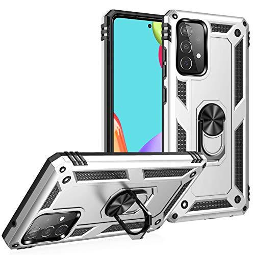 Compatible con Samsung Galaxy A52 5G Funda, Samsung A52 5G 4G Funda de Silicona Carcasa Magnética Original Soporte Coche Case Armadura Antihuellas Teléfono Móvil (Plata, Samsung A52 5G|4G)