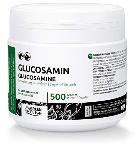 GreenPet Glucosamin Hund & Pferd 500 g - Gelenkpulver zur Unterstützung der Gelenke & Bewegungsfreude, Erhalt der Beweglichkeit & Agilität, Glucosamin Pferd & Hund, Ohne Zusatz von Salz oder Zucker