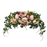H&S BRIDAL Wedding Arch Flowers, 30 Inch Rustic Artificial Floral Swag for Lintel, Green Leaves Rose Peony Sunflowers Door Wreath Home Decoration