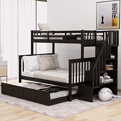 Twin Over Full Bunk Bed for Kids, Mission Style Wood Bunk Twin Over Full Size Bed Frame with Trundle and and Storage Shelves, No Box Spring Needed,Stackable