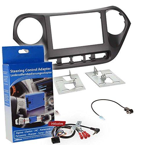 Carmedio Hyundai i10 Typ IA ab 13 2-DIN Autoradio Einbauset mit Lenkradfernbedienungsadapter für Alpine Clarion Kenwood Pioneer Sony Zenec mit Anschlusskabel Antennenadapter Radioblende schwarz