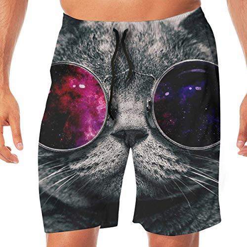 Yuanmeiju Taxi Herren Hawaii Shorts, Quick Dry Sommer 3D gedruckte elastische Strandhose mit Taschen