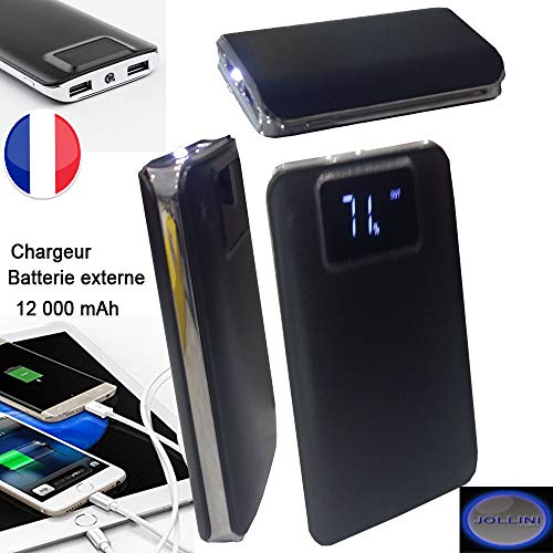 Jollini oplader voor Motorola G Plus/G/C Plus/G5/G4 Play/X2 – externe noodaccu, 2 USB, 12000 mAh, zwart