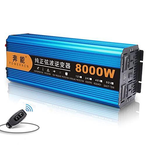 Inversor de Energía de Onda Sinusoidal Pura de Alta Resistencia 6000W/8000W/12000W, Transformador de Corriente 12/24V A 220V Inversor, con Adaptador de CA USB Suitable for outdoor camping,12V-8000W