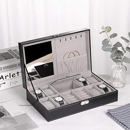 Gymqian Caja de Joyería Protable Pu Relojes de Cuero Organizador Mostrar Caja Caja Joyería Pendientes Anillos Collar Caja de Alenamiento para Mujeres Seguro y fuerte