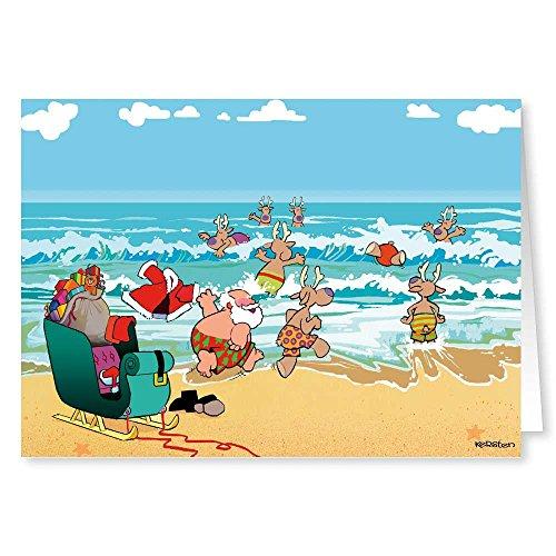 Beach Theme Christmas Card - 18 Cards & Envelopes