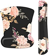 HOMKUMY Mouse Pad with Wrist Support and Keyboard Wrist Rest, Ergonomic Memory Foam Wrist Cushion Support with Non Slip Rubber Base Set for Computer Laptop Mac, Easy Typing & Pain Relief, Peony Floral