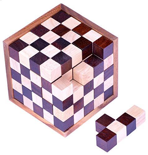 LOGOPLAY Schach-Würfel 125er Cube XL - 3D Puzzle - Denkspiel - Knobelspiel - Geduldspiel - Logikspiel im Holzrahmen