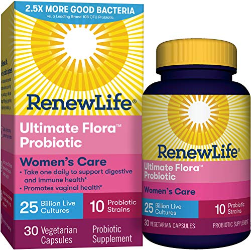 Renew Life #1 Women's Probiotics 25 Billion CFU Guaranteed, 10 Strains, Shelf Stable, Gluten Dairy & Soy Free, 30 Capsules, Ultimate Flora Women's Care - 60 Day Money Back Guarantee
