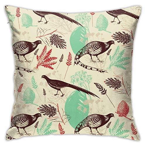 18' Imágenes Dobles Cojines Fundas Sencillas Pillowcase Hoja pájaro Funda Almohada Suave clásicas Cushion Cover