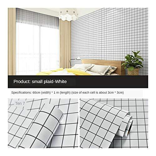 HDS Verdickte PVC-Selbstklebende Tapete Nordic Schlafzimmermöbel Erneuerungs selbstklebendes Papier reinweiß wasserdicht selbstklebend (Color : White Grid 60cm 1 m)
