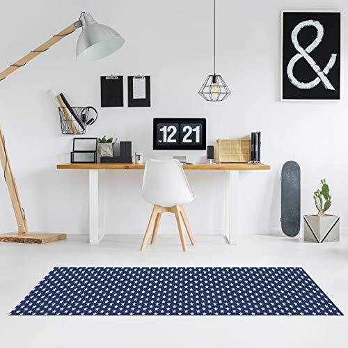 Comercial Candela Alfombra de Pasillo Vinilo Antimanchas, Lavable | Base PVC Antideslizante y Aislante Diseño Estrellas Color (Azul, 52_X_250 CM)