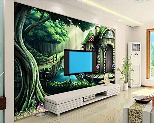 FYBSNDY 3D Wallpaper Custom Wallpaper Forest Cabin Children's Room Tv Background Mural Home Decoration Background Wall Murals-150Cmx100Cm