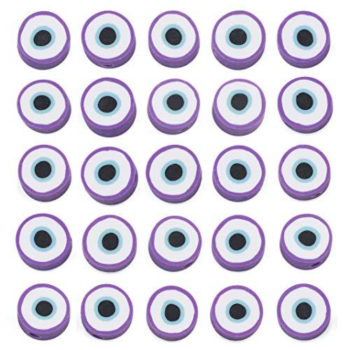 COIRIS 200 cuentas de vinilo de ojo malvado de 9 a 10 mm, redondas, redondas, hechas a mano, de arcilla polimérica, para collar y pulseras, pendientes, joyería (RT-E-Purple)