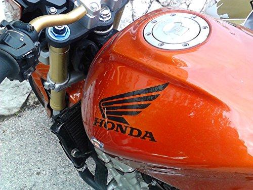 snstyling.com Aufkleber passend für Honda Motorrad Seitenaufkleber Aufkleber Satz 2 STK. Tankaufkleber Flügel (Schwarz)
