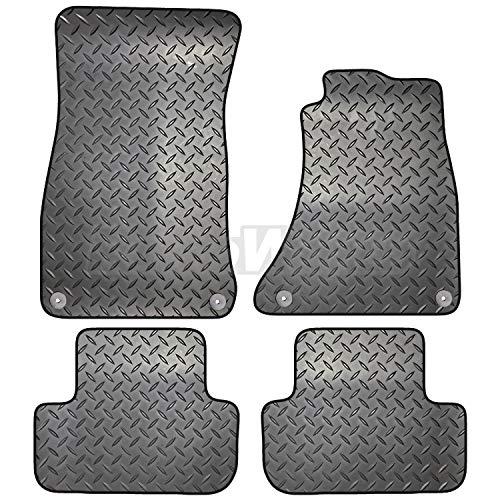 Carsio ZCUT-2005-(55 x 4) - Set di 4 tappetini in gomma per Audi A5 Sportback dal 2009 al 2017, 4 clip rotonde, colore: nero