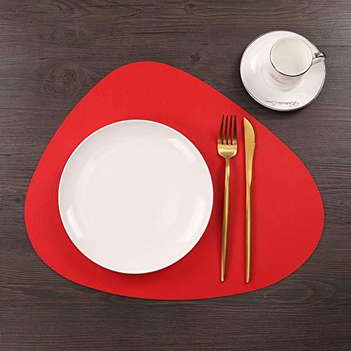 Dongbin Tischsets Tassenunterlage Dreieckig Oval Wasserdicht Ölisolierung Pad Haushalt Napf Matte Untersetzer Teller L rot