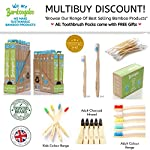 BAMBOOGALOO Premium Bamboo Toothbrushes - 7 Pack with Bamboo Cotton Buds & Dental Floss Gift. Organic Natural Wooden…