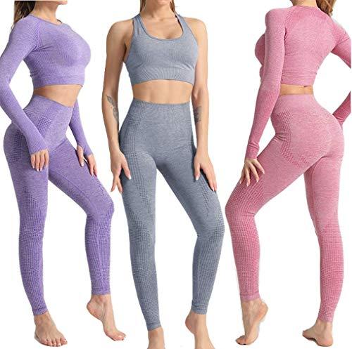 Conjunto Yoga 3 Piezas para Mujer, ConjuntoDeportivo Pantalones De Yoga Súper Elásticos Sin Costuras mas Bralette para Mujer Camiseta Deportiva De Manga Larga Sin Costuras Mujer (Set Morado, M)