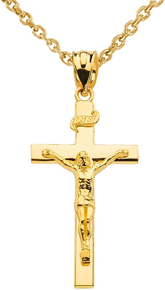 Finejewelers Sterling Silver Antiqued Inri Crucifix Pendant Necklace Chain Included
