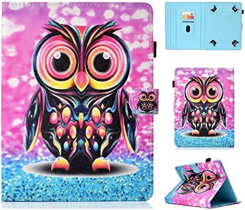 Universal Case for 7' Tablet, Protective Cover for iPad Mini 4/3/2/1, Galaxy Tab A 7 Inch/Tab 3 Lite 7.0, Huawei MediaPad T3 7', Kobo Aura H2O 2nd Edition, Lenovo Tab 3 7 Essential, Unicorn (Cute Owl)