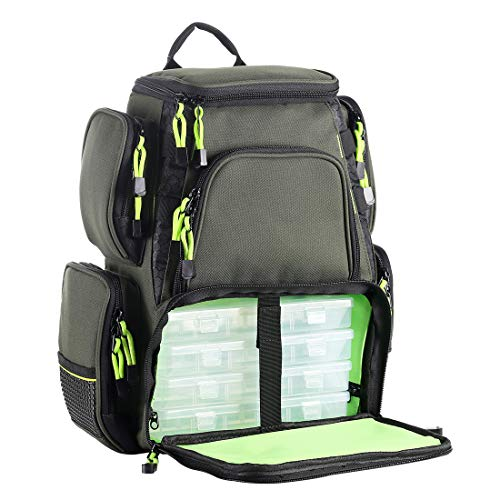 SeaKnight Fishing Tackle Backpack, Water-Resistant Large Storage with 4 Trays, Outdoor Multifunctional Box Tackle Bag for Fishing Camping Hiking Cycling (Green-7.5L with 4 Trays)