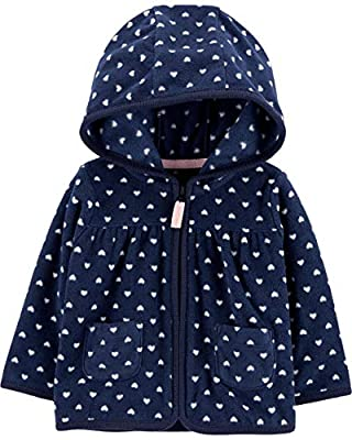 Carter's Girls' Zip up Fleece-Lined Hoodie (12 Months, Navy/Heart)