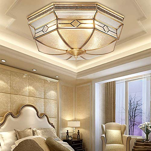 HtapsG Lampadari a Sospensione Candelabro Creativo Lámpara de Techo LED de Cobre Completo Lámpara de Dormitorio Estudio de habitación cálida Iluminación Interior de Cobre Puro 46 x 16 cm