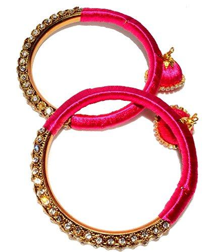 Metall Armreifen ArmbandBangle Set Bollywood Schmuck Damen Handschmuck Chudi Multicolor Geschenk Hochzeit indisch hippie indien indianerbund mädchen modeschmuck-pink,Size - 2.6 (6 cm)