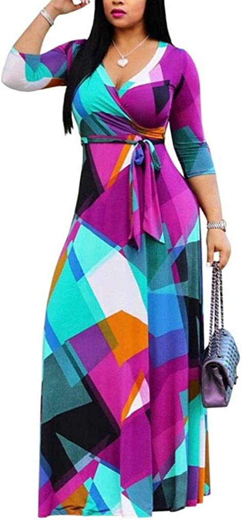 Locryz Women's V Neck 3/4 Sleeve African Floral Printed Party Loose Long Maxi Dress with Belt S-3XL …