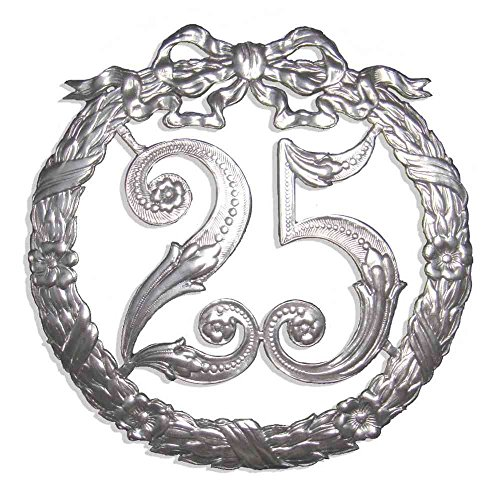 Jubiläumszahl 25, Ø 24 cm, silber, Jubiläumskranz