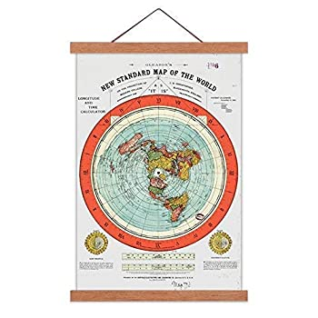 AlexArt Flat Earth Map - Gleason s New Standard Map of The World - Large 24 X36  Canvas Print Scroll Poster with Teak Wood Frame Ready to Hang