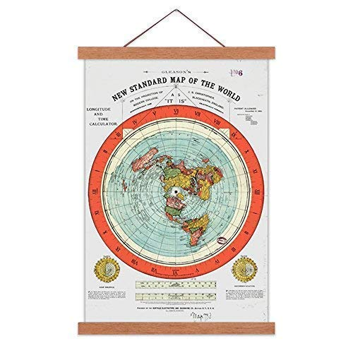 AlexArt Flat Earth Map - Gleason's New Standard Map of The World - Large 24'X36' Canvas Print Scroll Poster with Teak Wood Frame Ready to Hang